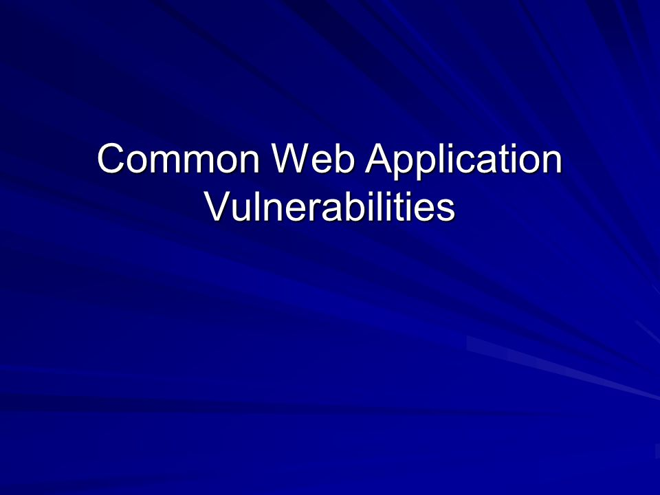 Common Web Application Vulnerabilities