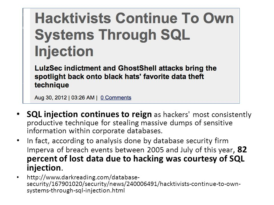 http://news.techworld.com/security/3331283/barclays-97- percent-of-data-breaches-still-due-to-sql-injection/