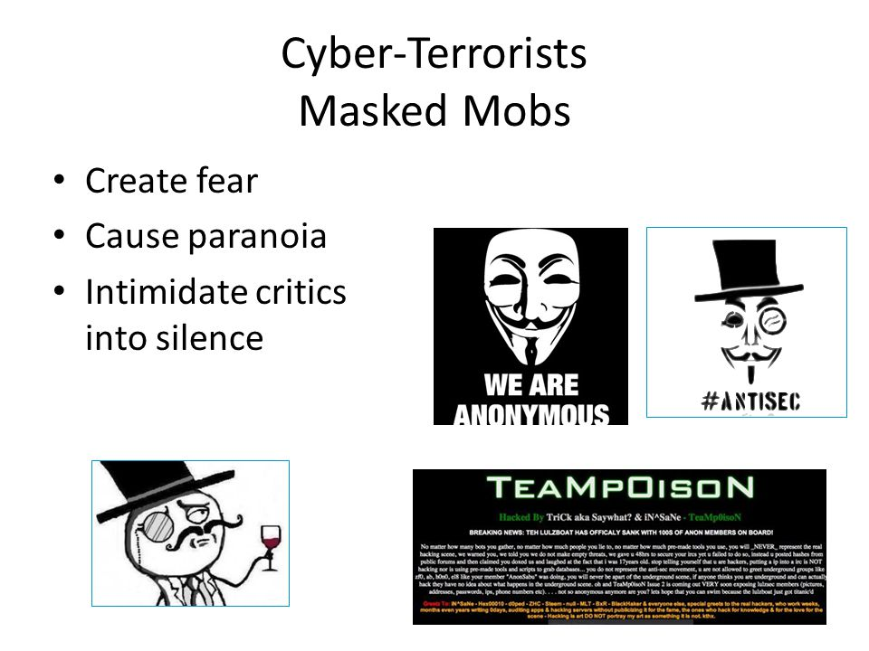 Cyber-Terrorists Masked Mobs Create fear Cause paranoia Intimidate critics into silence