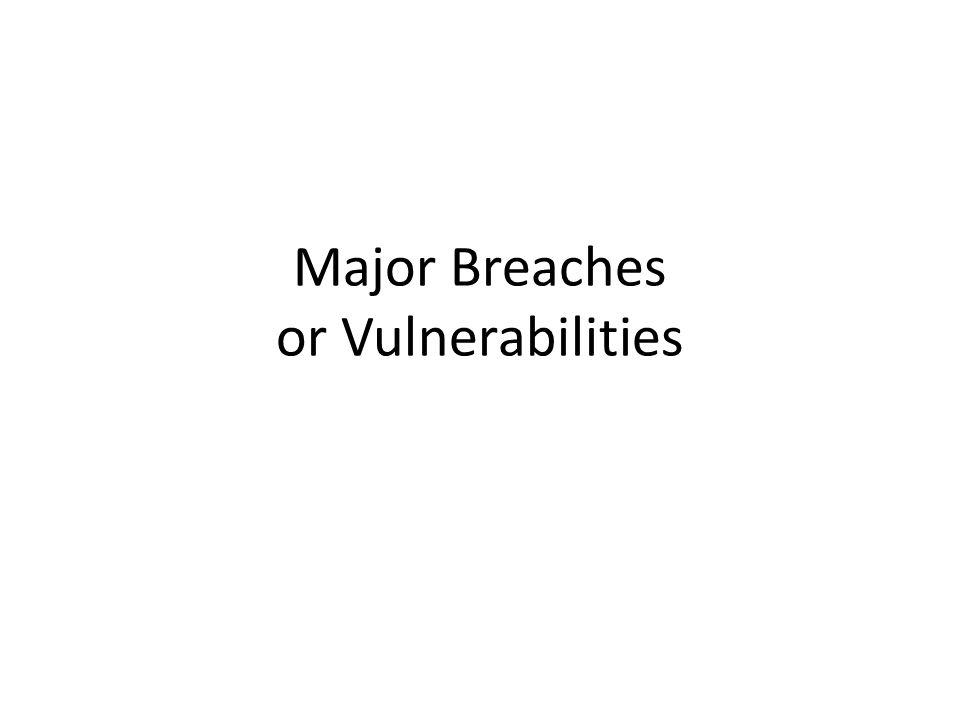 Major Breaches or Vulnerabilities