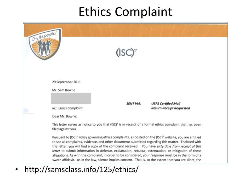 Ethics Complaint http://samsclass.info/125/ethics/