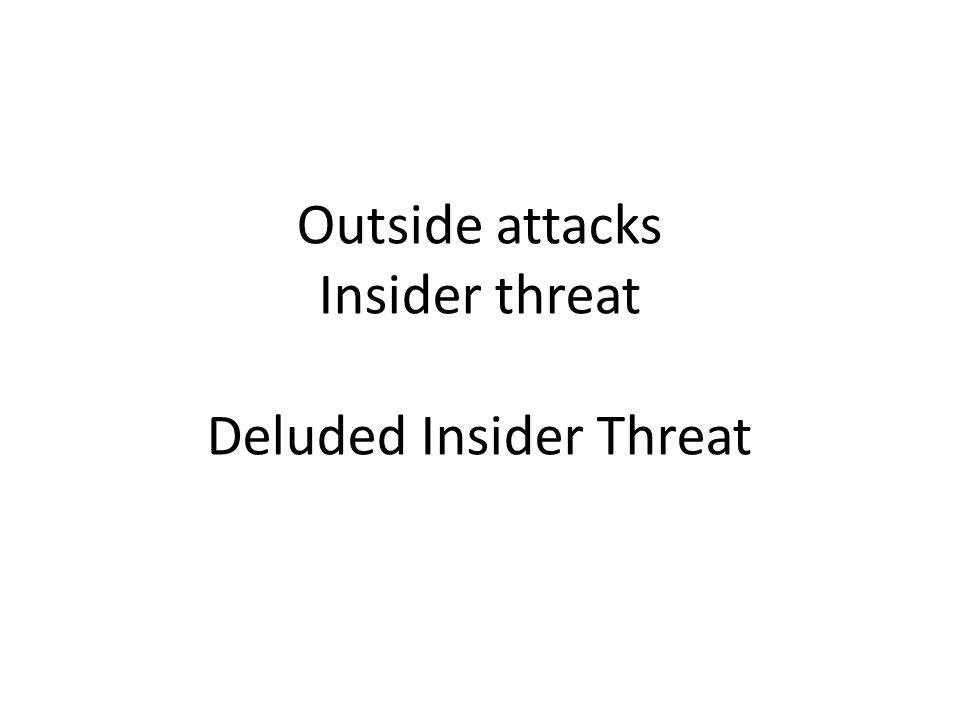 Outside attacks Insider threat Deluded Insider Threat
