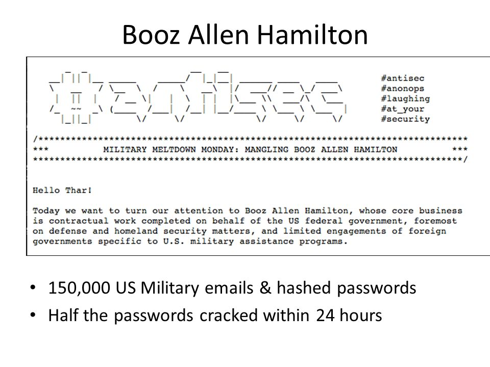 Booz Allen Hamilton 150,000 US Military emails & hashed passwords Half the passwords cracked within 24 hours