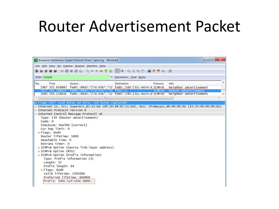 Router Advertisement Packet