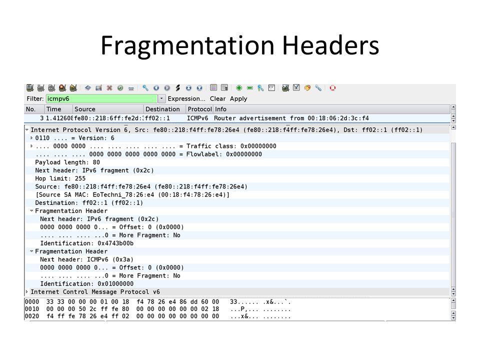Fragmentation Headers
