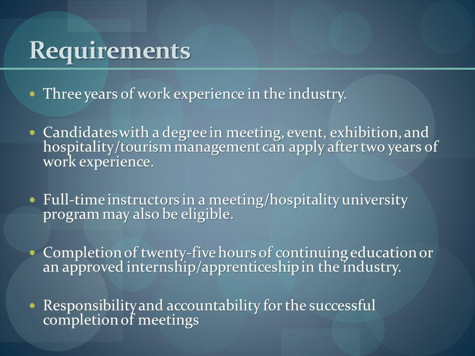 Requirements Three years of work experience in the industry.
