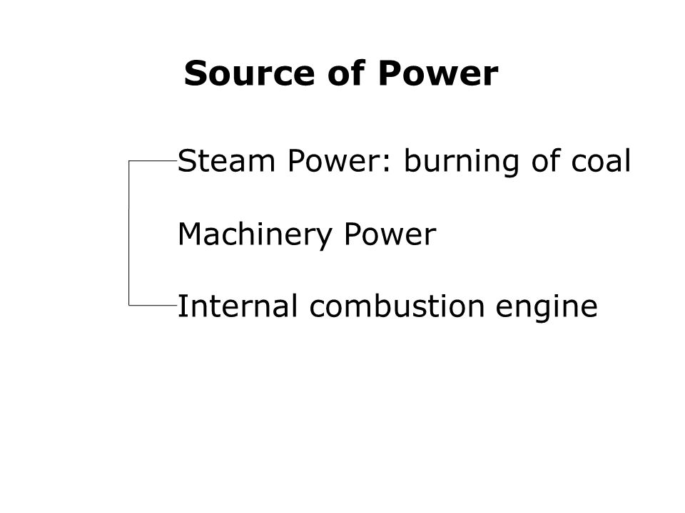 Steam Power: burning of coal Machinery Power Internal combustion engine Source of Power
