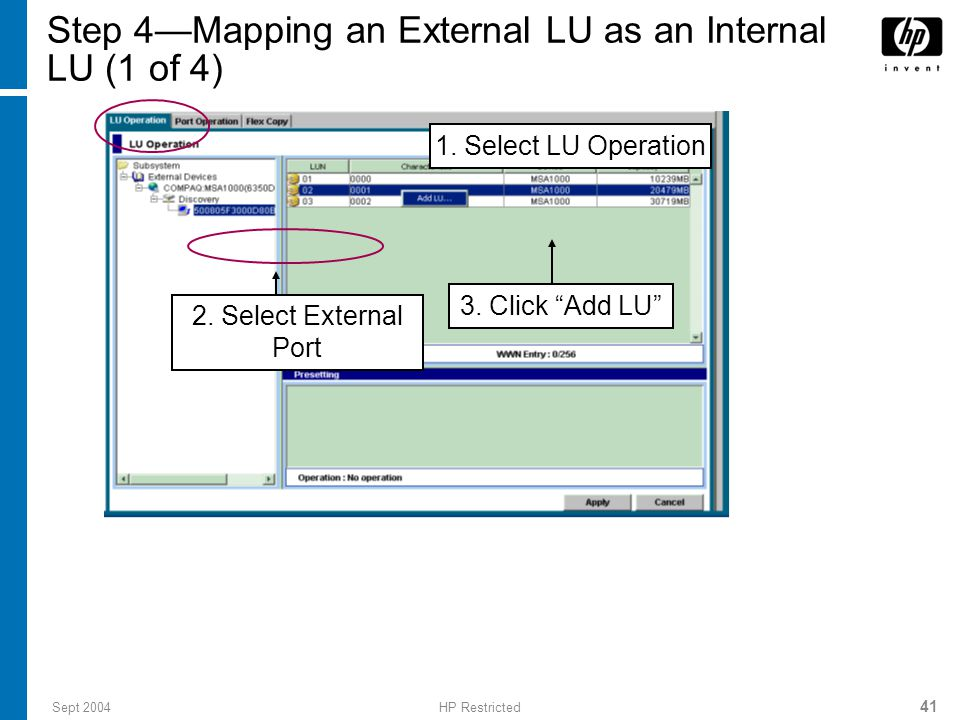 Sept 2004HP Restricted 41 Step 4—Mapping an External LU as an Internal LU (1 of 4) 3.