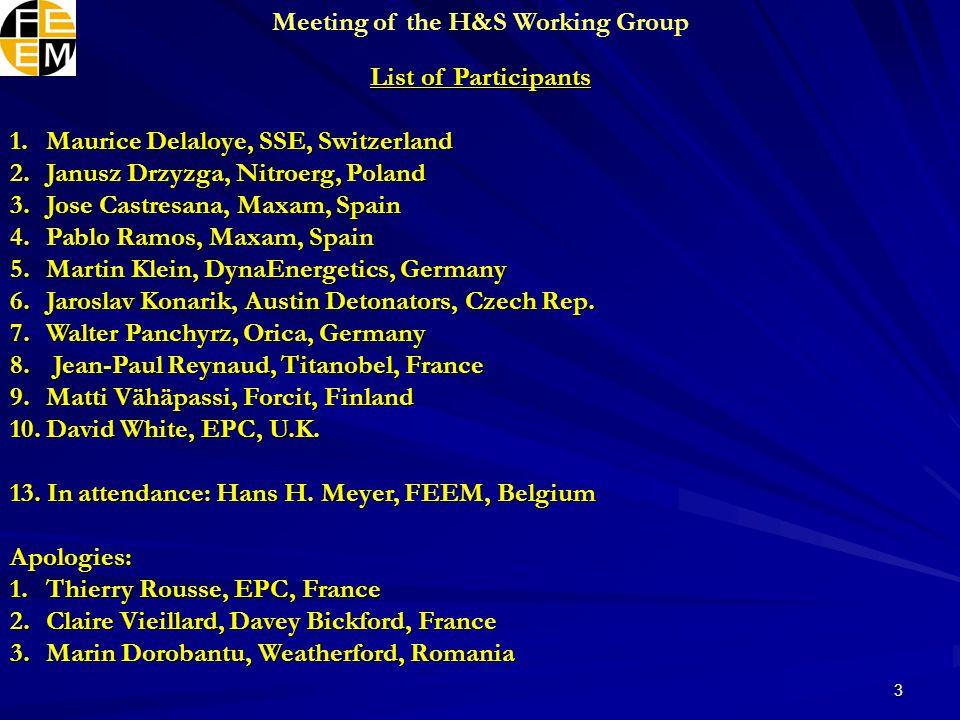 3 List of Participants 1.Maurice Delaloye, SSE, Switzerland 2.Janusz Drzyzga, Nitroerg, Poland 3.Jose Castresana, Maxam, Spain 4.Pablo Ramos, Maxam, Spain 5.Martin Klein, DynaEnergetics, Germany 6.Jaroslav Konarik, Austin Detonators, Czech Rep.