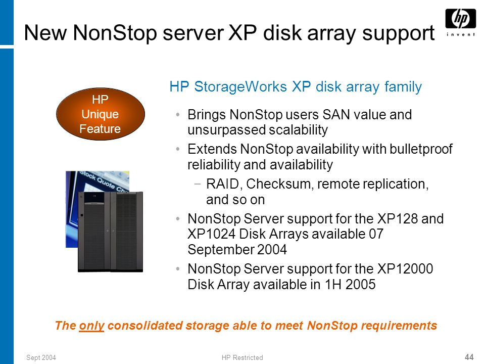 Sept 2004HP Restricted 44 New NonStop server XP disk array support HP StorageWorks XP disk array family Brings NonStop users SAN value and unsurpassed scalability Extends NonStop availability with bulletproof reliability and availability −RAID, Checksum, remote replication, and so on NonStop Server support for the XP128 and XP1024 Disk Arrays available 07 September 2004 NonStop Server support for the XP12000 Disk Array available in 1H 2005 HP Unique Feature The only consolidated storage able to meet NonStop requirements
