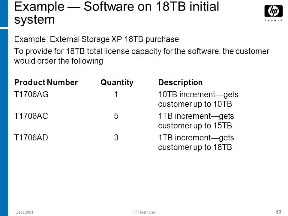 Sept 2004HP Restricted 53 Example — Software on 18TB initial system Example: External Storage XP 18TB purchase To provide for 18TB total license capacity for the software, the customer would order the following Product Number Quantity Description T1706AG 1 10TB increment—gets customer up to 10TB T1706AC 5 1TB increment—gets customer up to 15TB T1706AD 3 1TB increment—gets customer up to 18TB