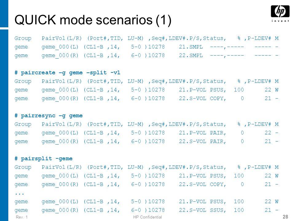Rev. 1HP Confidential 28 QUICK mode scenarios (1) Group PairVol(L/R) (Port#,TID, LU-M),Seq#,LDEV#.P/S,Status, %,P-LDEV# M geme geme_000(L) (CL1-B,14,