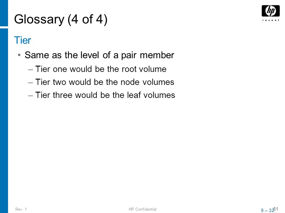 Rev. 1HP Confidential 51 Glossary (4 of 4) Tier Same as the level of a pair member –Tier one would be the root volume –Tier two would be the node volu