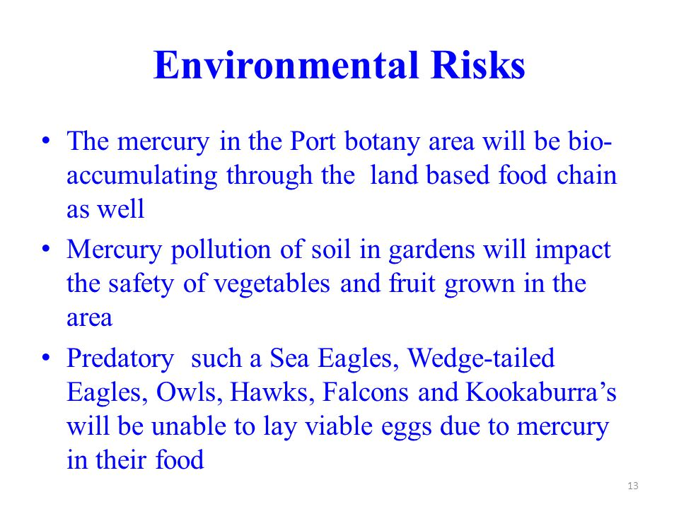 Environmental Risks The mercury in the Port botany area will be bio- accumulating through the land based food chain as well Mercury pollution of soil in gardens will impact the safety of vegetables and fruit grown in the area Predatory such a Sea Eagles, Wedge-tailed Eagles, Owls, Hawks, Falcons and Kookaburra's will be unable to lay viable eggs due to mercury in their food 13