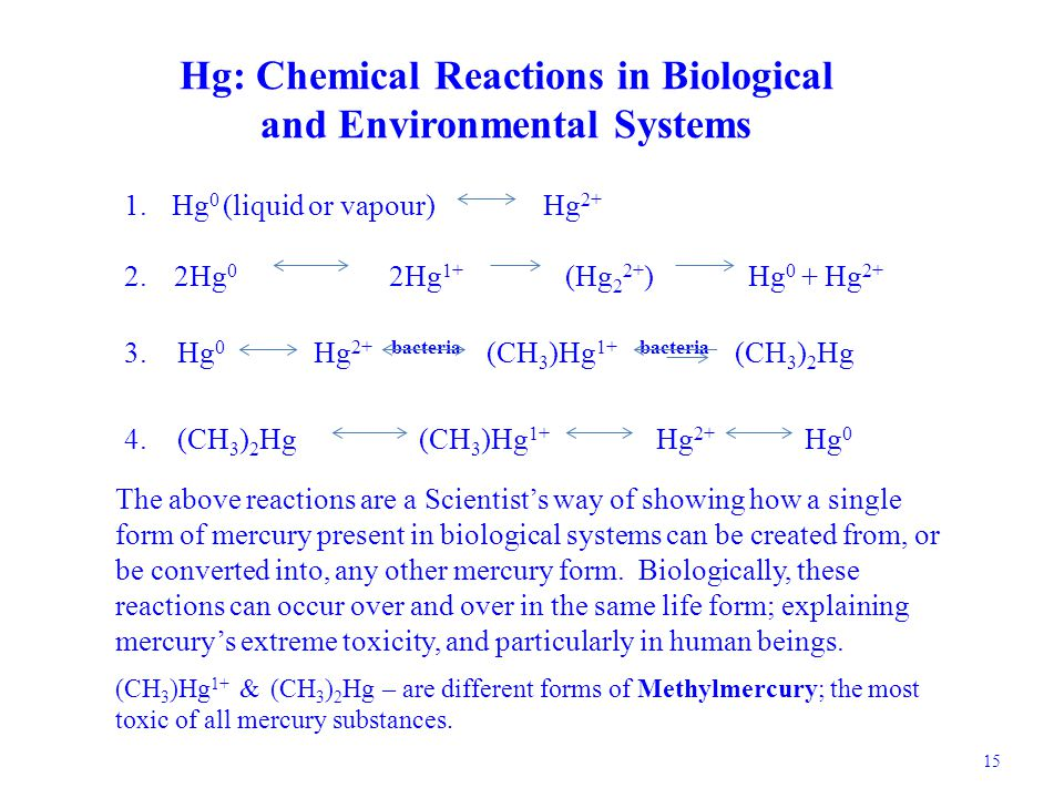 Hg: Chemical Reactions in Biological and Environmental Systems 1.
