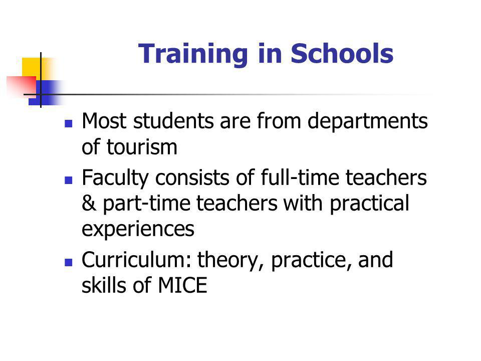 Training in Schools Most students are from departments of tourism Faculty consists of full-time teachers & part-time teachers with practical experiences Curriculum: theory, practice, and skills of MICE