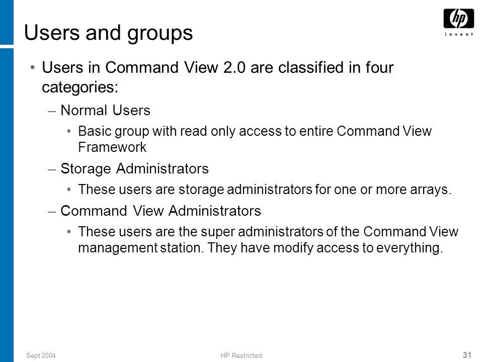 Sept 2004HP Restricted 32 Default users and permissions User-idUser Group administratorAdministrators storageadminStorageAdmins userUsers
