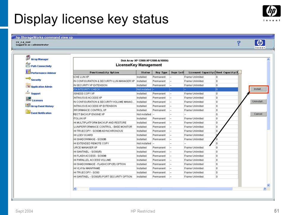 Sept 2004HP Restricted 52 License key installation