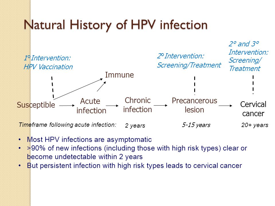 Natural History of HPV infection Susceptible Acute infection Chronic infection Precancerous lesion 1°Intervention: HPV Vaccination Immune Cervical cancer Timeframe following acute infection: 5-15 years 20+ years 2 years 2°Intervention: Screening/Treatment 2° and 3° Intervention: Screening/ Treatment Most HPV infections are asymptomatic >90% of new infections (including those with high risk types) clear or become undetectable within 2 years But persistent infection with high risk types leads to cervical cancer