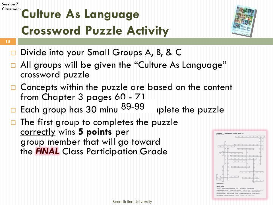 Classroom Culture As Language Crossword Puzzle Activity Benedictine University 15 89-99
