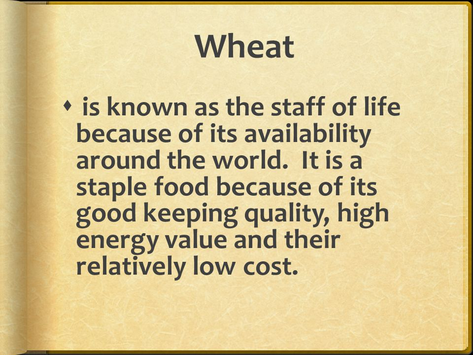 Wheat  is known as the staff of life because of its availability around the world.