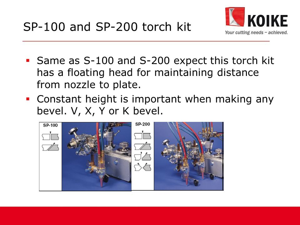  Same as S-100 and S-200 expect this torch kit has a floating head for maintaining distance from nozzle to plate.