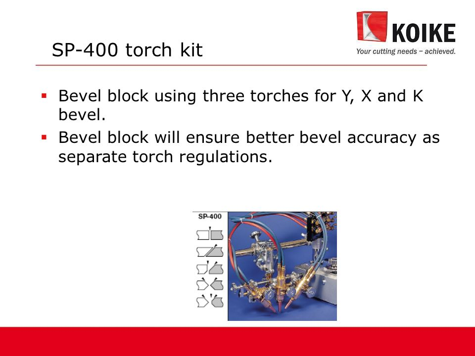 SP-400 torch kit  Bevel block using three torches for Y, X and K bevel.