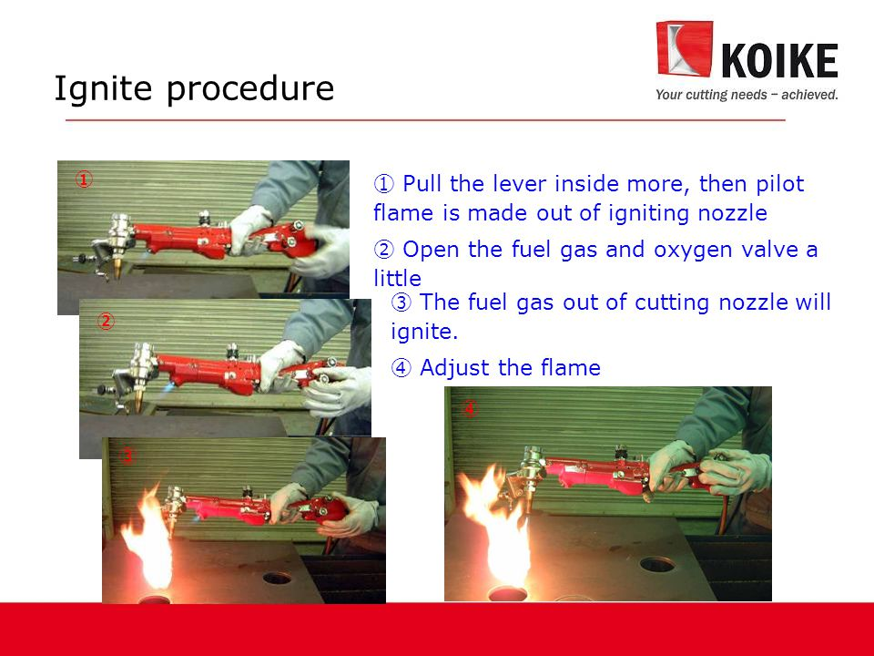 Ignite procedure ① ④ ③ The fuel gas out of cutting nozzle will ignite.
