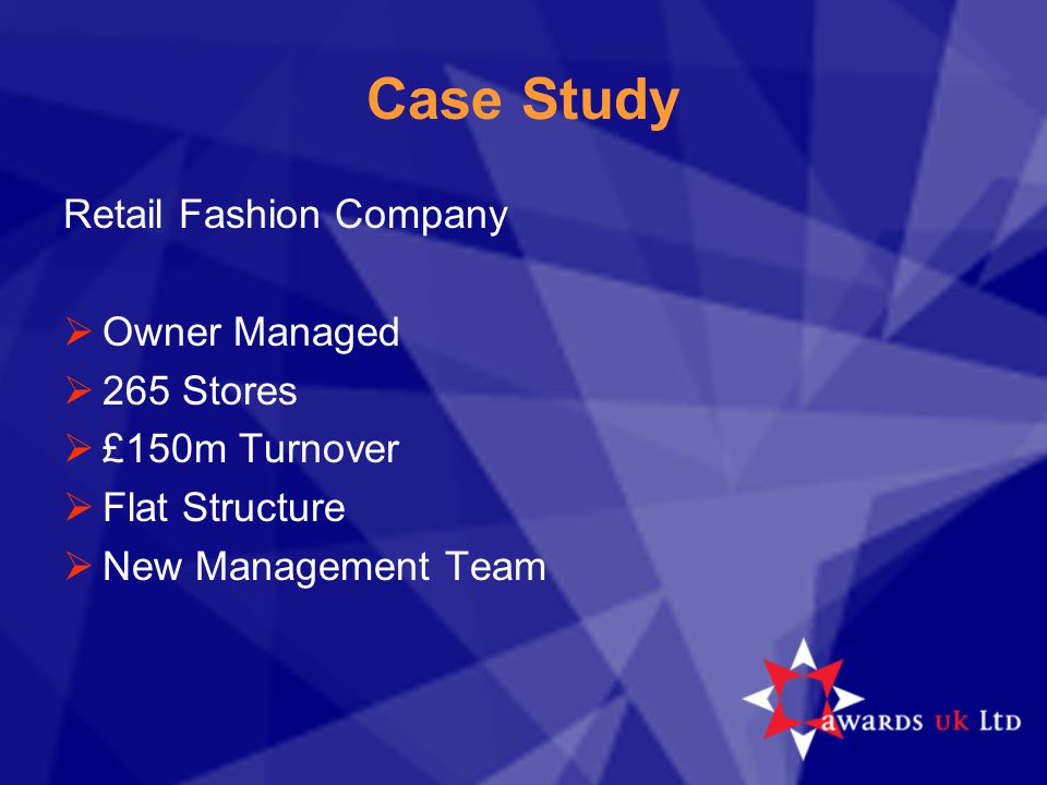 Strategic Assessment  Retail Division under performing  Key measures  Business understanding  Setting targets  Establishing KPI's  Reflect business targets  Organisational audit