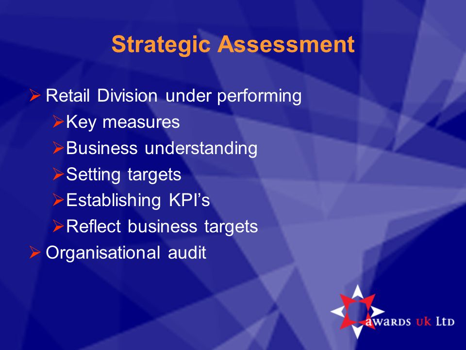 Strategic Assessment  Retail Division under performing  Key measures  Business understanding  Setting targets  Establishing KPI's  Reflect busin
