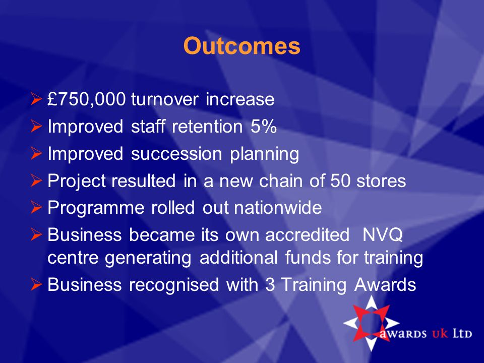 Outcomes  £750,000 turnover increase  Improved staff retention 5%  Improved succession planning  Project resulted in a new chain of 50 stores  Pr