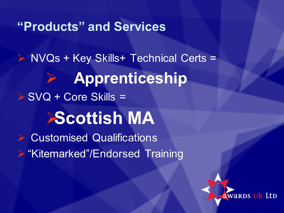 Products and Services  NVQs + Key Skills+ Technical Certs =  Apprenticeship  SVQ + Core Skills =  Scottish MA  Customised Qualifications  Kitemarked /Endorsed Training