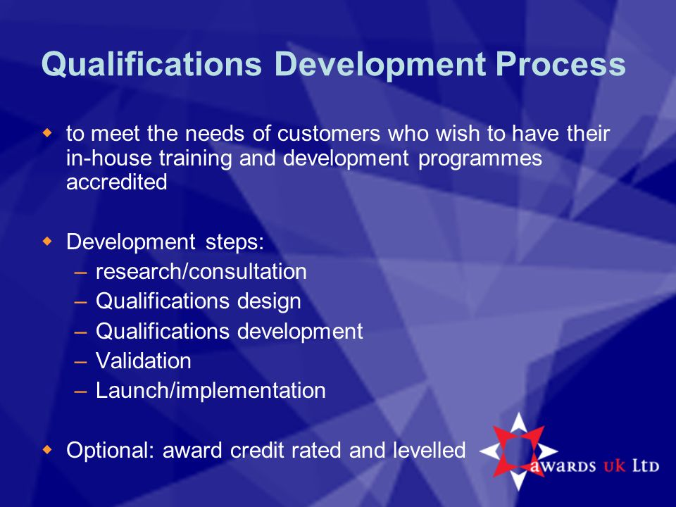 Qualifications Development Process  to meet the needs of customers who wish to have their in-house training and development programmes accredited  Development steps: –research/consultation –Qualifications design –Qualifications development –Validation –Launch/implementation  Optional: award credit rated and levelled
