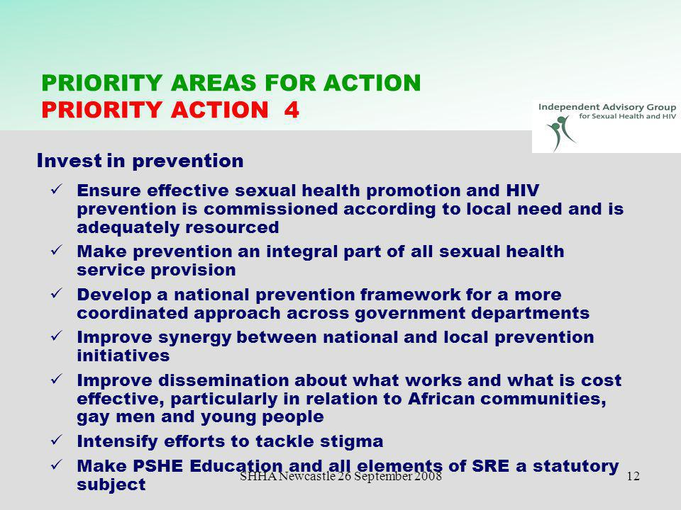 SHHA Newcastle 26 September 200812 PRIORITY AREAS FOR ACTION PRIORITY ACTION 4 Invest in prevention Ensure effective sexual health promotion and HIV p