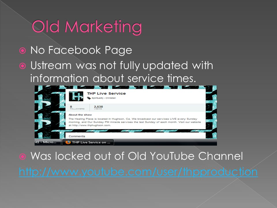 No Facebook Page  Ustream was not fully updated with information about service times.  Was locked out of Old YouTube Channel http://www.youtube.co