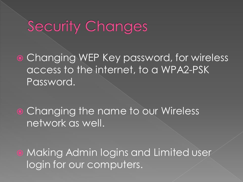  Changing WEP Key password, for wireless access to the internet, to a WPA2-PSK Password.  Changing the name to our Wireless network as well.  Makin