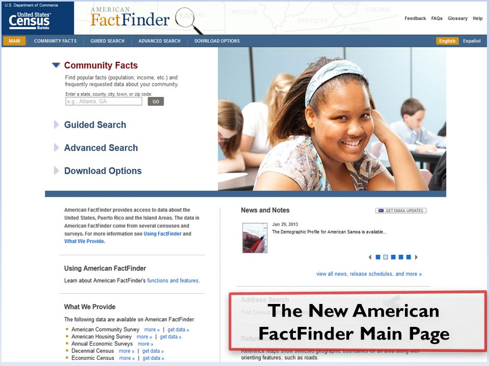 The New American FactFinder Main Page