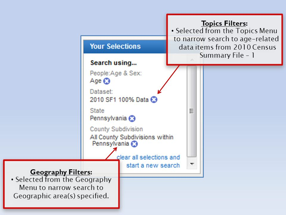 Topics Filters: Selected from the Topics Menu to narrow search to age-related data items from 2010 Census Summary File – 1 Topics Filters: Selected from the Topics Menu to narrow search to age-related data items from 2010 Census Summary File – 1 Geography Filters: Selected from the Geography Menu to narrow search to Geographic area(s) specified.
