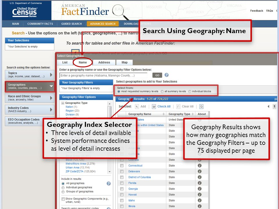 Geography Results shows how many geographies match the Geography Filters – up to 75 displayed per page Geography Index Selector Three levels of detail available System performance declines as level of detail increases Geography Index Selector Three levels of detail available System performance declines as level of detail increases Search Using Geography: Name