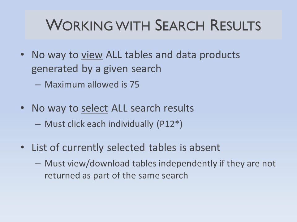No way to view ALL tables and data products generated by a given search – Maximum allowed is 75 No way to select ALL search results – Must click each individually (P12*) List of currently selected tables is absent – Must view/download tables independently if they are not returned as part of the same search W ORKING WITH S EARCH R ESULTS