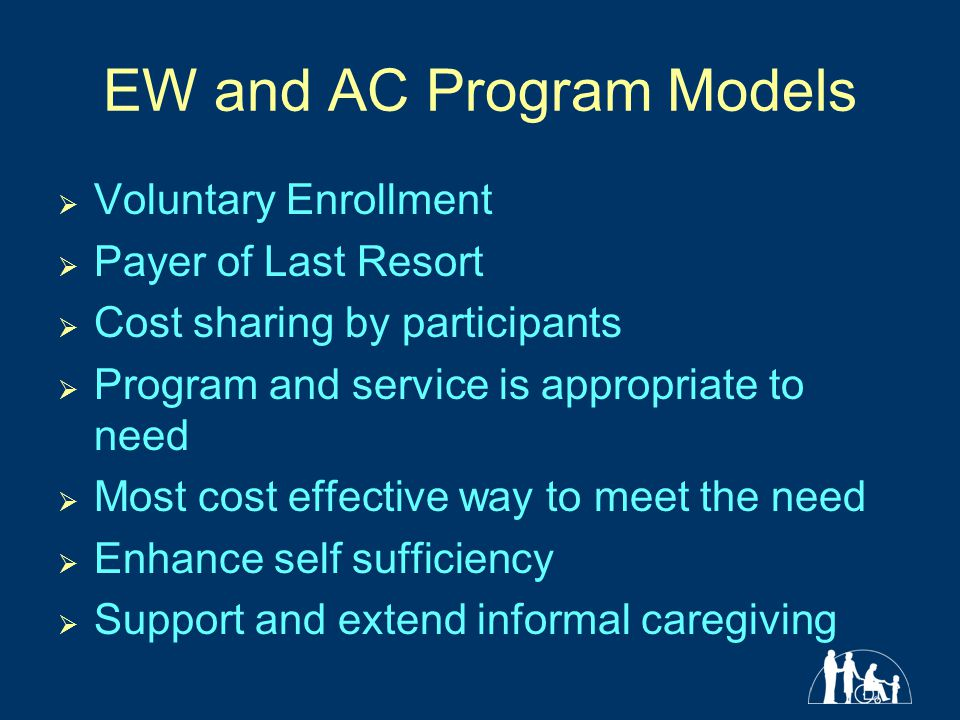 EW and AC Program Models  Voluntary Enrollment  Payer of Last Resort  Cost sharing by participants  Program and service is appropriate to need  Most cost effective way to meet the need  Enhance self sufficiency  Support and extend informal caregiving