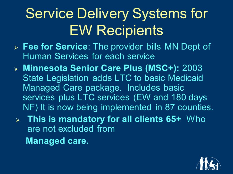 Service Delivery Systems for EW Recipients  Fee for Service: The provider bills MN Dept of Human Services for each service  Minnesota Senior Care Plus (MSC+): 2003 State Legislation adds LTC to basic Medicaid Managed Care package.