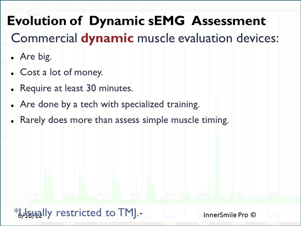 6/18/12 InnerSmile Pro © Commercial dynamic muscle evaluation devices: Are big.