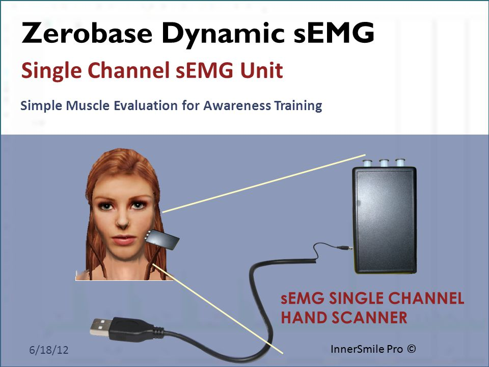 6/18/12 InnerSmile Pro © sEMG SINGLE CHANNEL HAND SCANNER Simple Muscle Evaluation for Awareness Training Single Channel sEMG Unit Zerobase Dynamic sEMG InnerSmile Pro ©