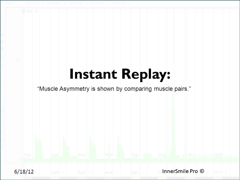 6/18/12 InnerSmile Pro © Instant Replay: InnerSmile Pro © Muscle Asymmetry is shown by comparing muscle pairs.
