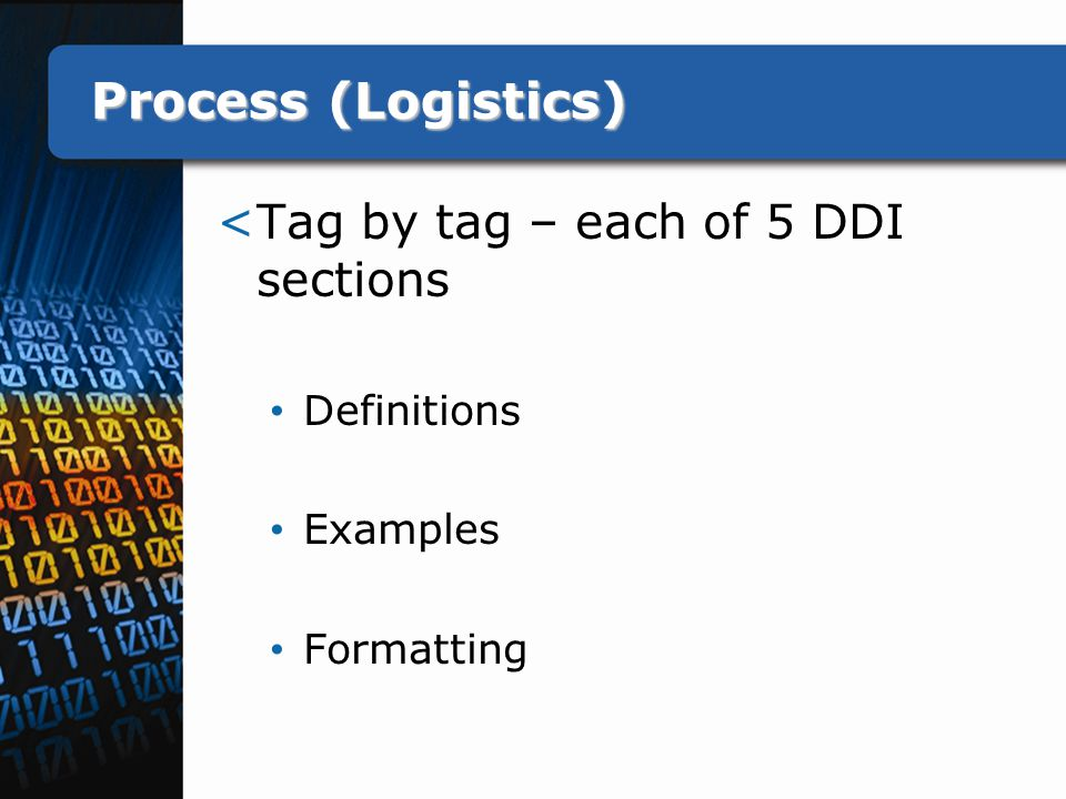 Process (Logistics) <Tag by tag – each of 5 DDI sections Definitions Examples Formatting