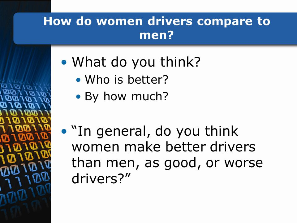 How do women drivers compare to men. What do you think.