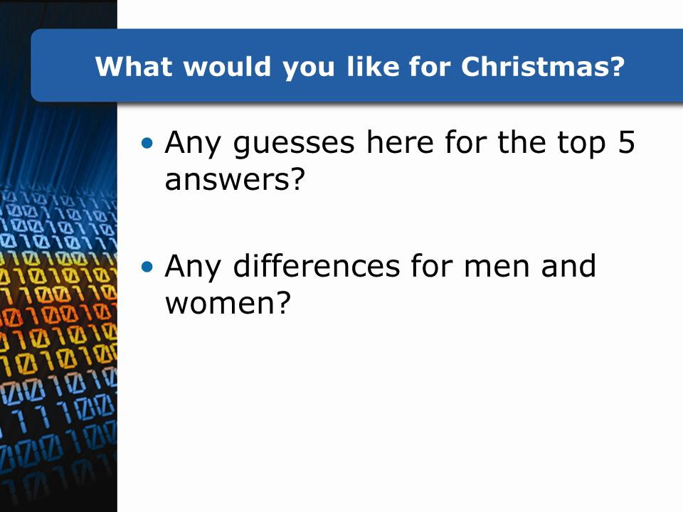 What would you like for Christmas. Any guesses here for the top 5 answers.