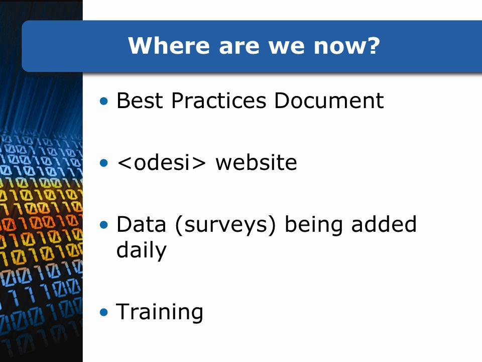 Where are we now Best Practices Document website Data (surveys) being added daily Training