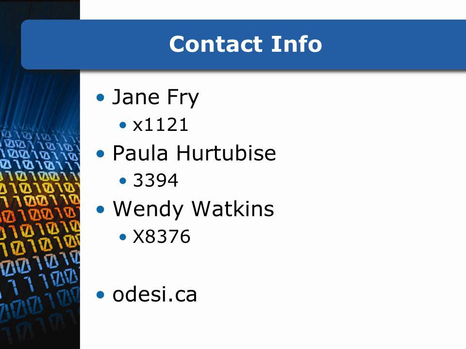 Contact Info Jane Fry x1121 Paula Hurtubise 3394 Wendy Watkins X8376 odesi.ca